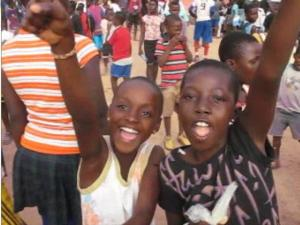 "Children singing ""Ole! Ole! Ole!"" after the soccer world cup                                                                     soccer world cup"