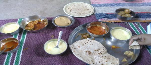 A freshly prepared meal of roti (Indian Bread) and seasonal vegetables.